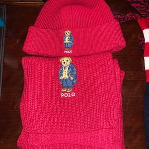 Polo Ralph Lauren polo bear hat and scarf set